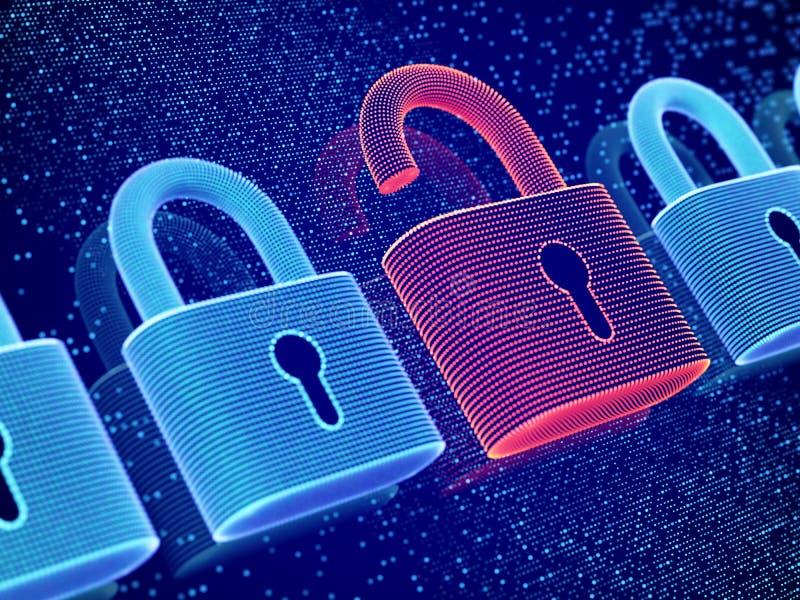 Protection des donn?es et concept d'intimit? Visualisation de la sécurité personnelle ou de renseignements commerciaux illustration libre de droits