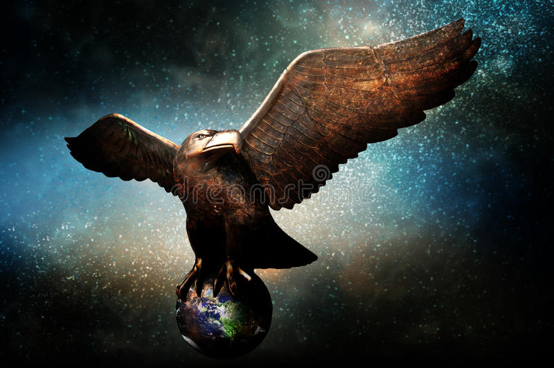 Protection of Earth. A bronze eagle flying in the space galaxy with Earth grasped between talons. Concept for environmental protection