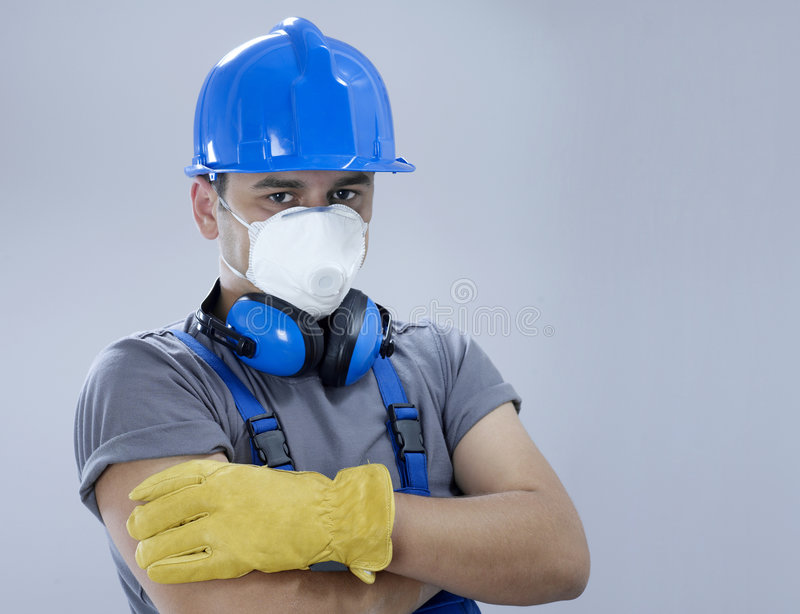 Protection equipment. Construction worker with protection equipment royalty free stock photo
