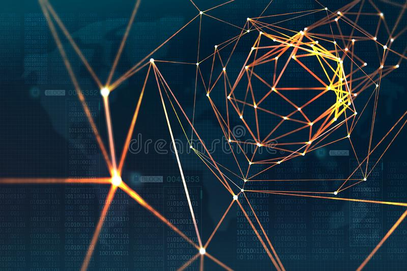 Protection et stockage des données numériques utilisant la technologie de blockchain Intelligence artificielle basée sur les rése photographie stock libre de droits