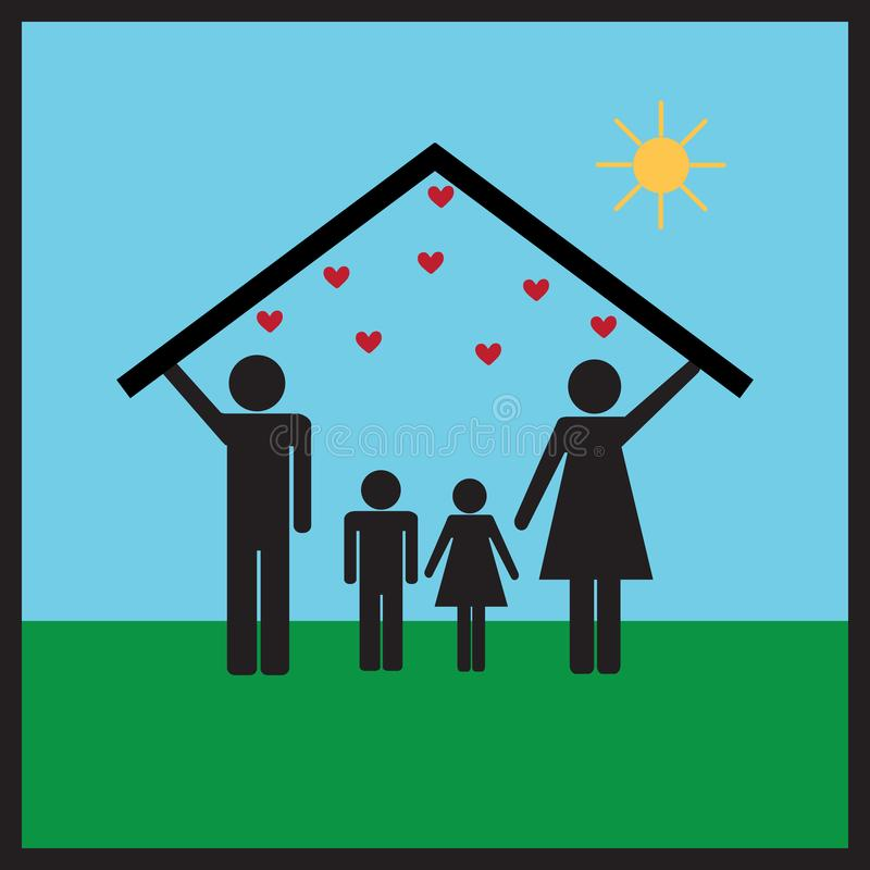 Protection of family in home2 royalty free stock images