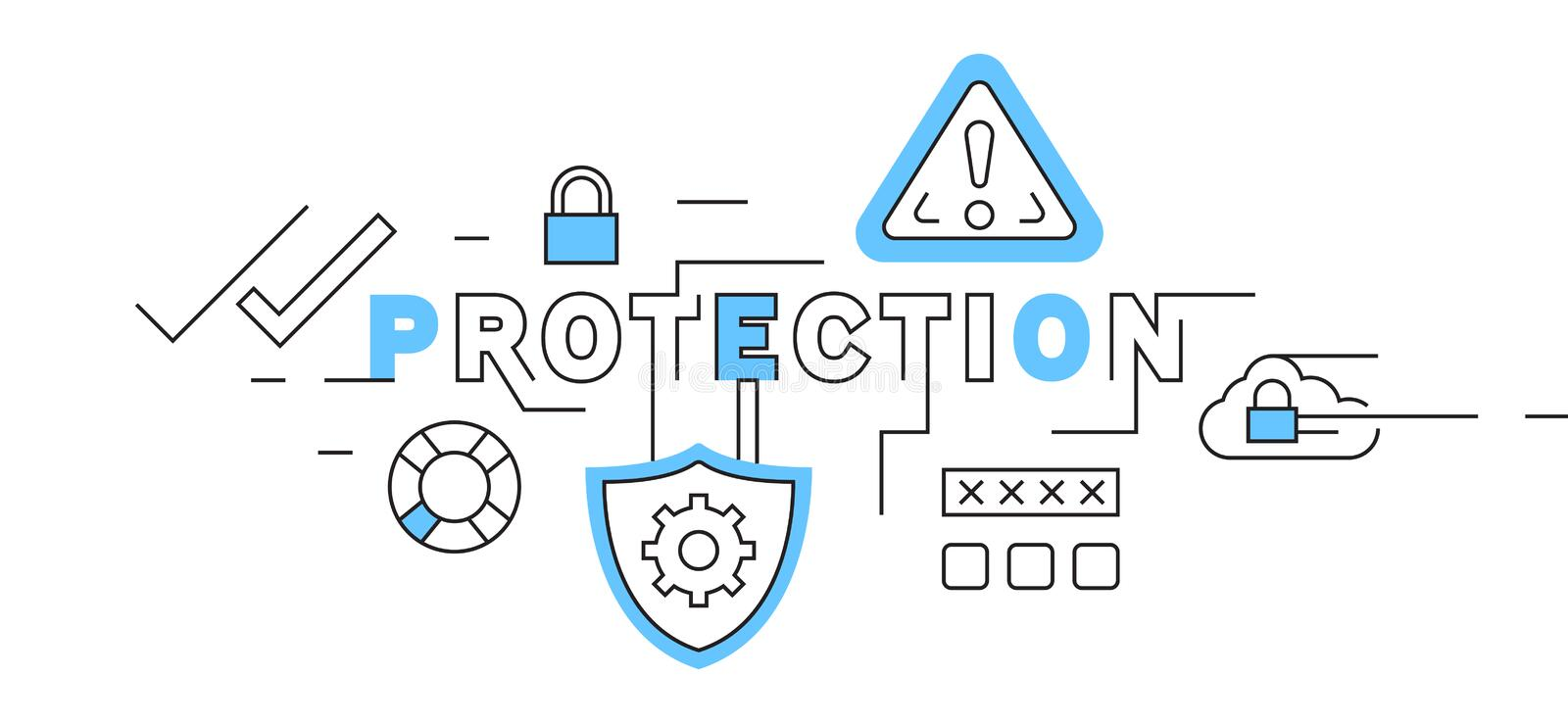 Protection Flat Line Design In Blue. system security and data safety illustration. business and technology theme vector. System security and data safety vector illustration