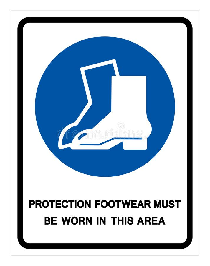 Protection Footwear Must Be Worn In This Area Symbol Sign ,Vector Illustration, Isolate On White Background Label. EPS10 stock illustration