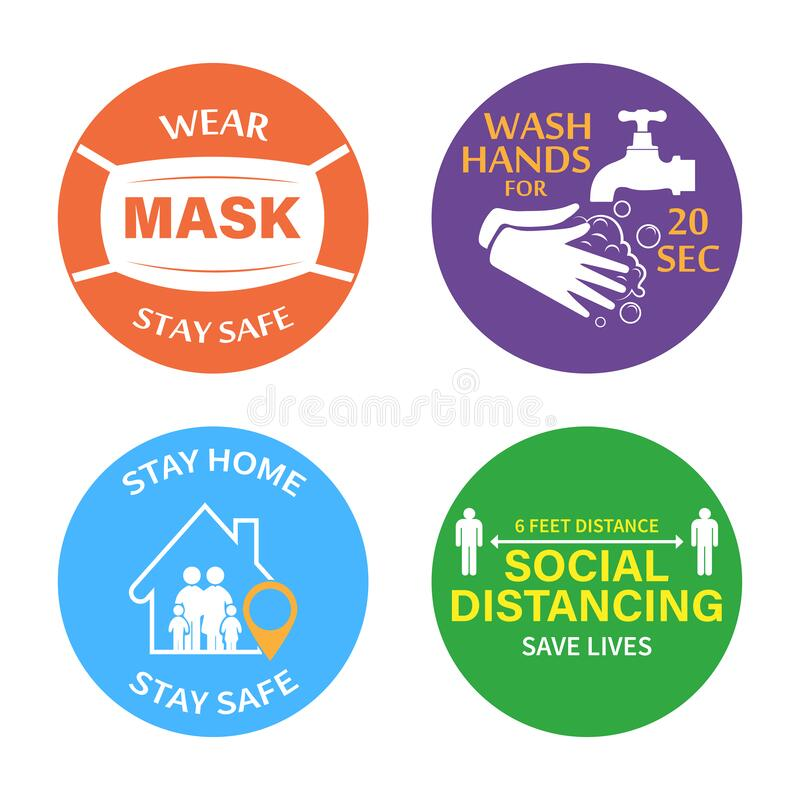Free Protection From COVID-19.Set Of Color Stickers Wear A Mask, Wash Your Hands, Stay At Home, Social Distance. Pneumonia Virus Is A D Stock Photos - 188755073