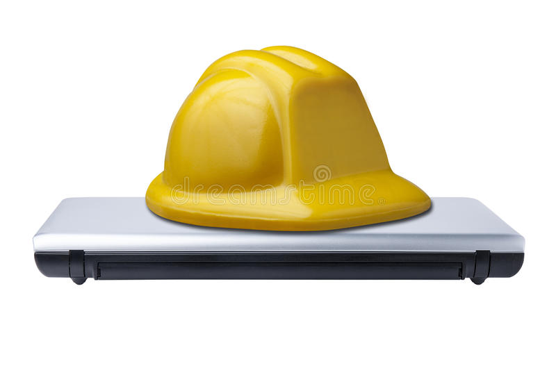 Protection Hat Hard Computer Laptop Closed Isolated stock images