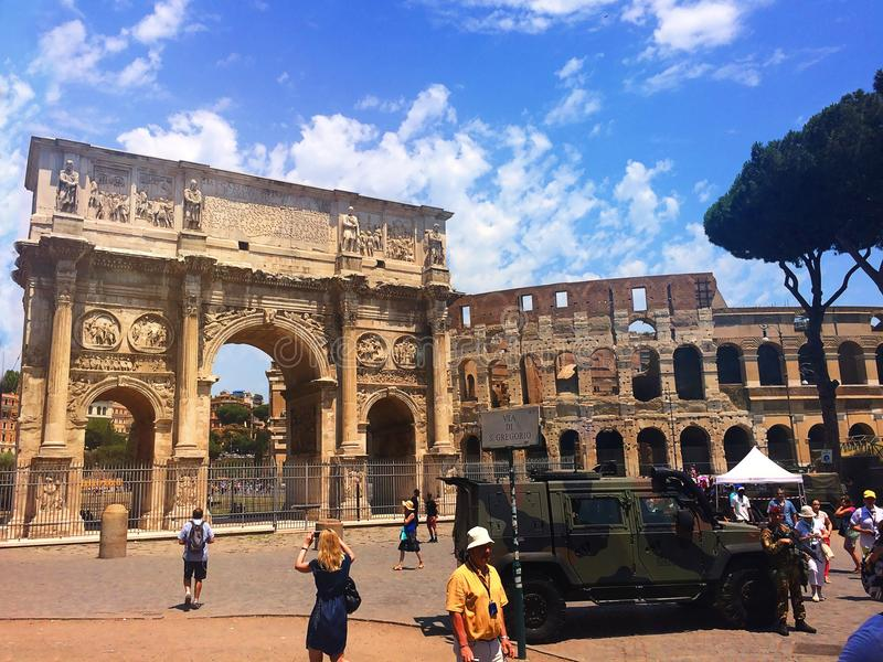 Protection of the historic center of Rome. Italy stock photos