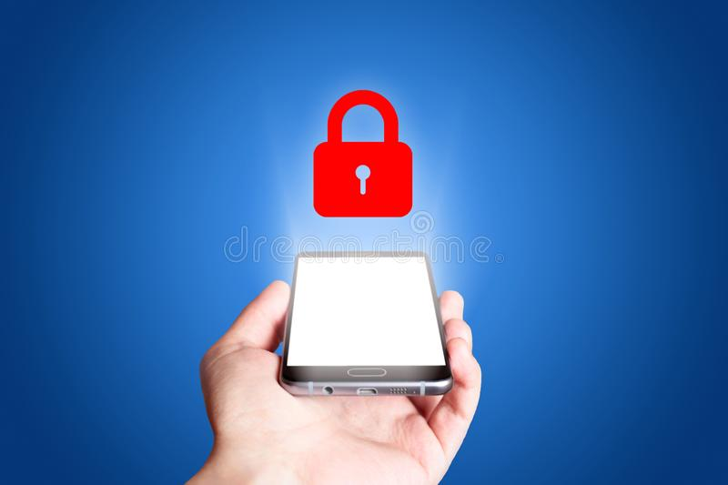 Protection icon. Mobile phone on blue background royalty free stock image