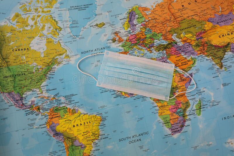 protection mask map of the world stock image