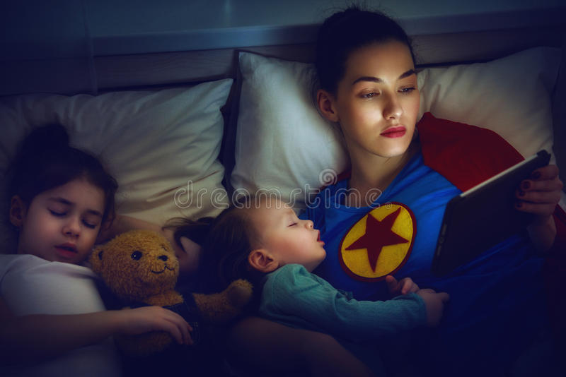 Protection of the mother superhero royalty free stock image