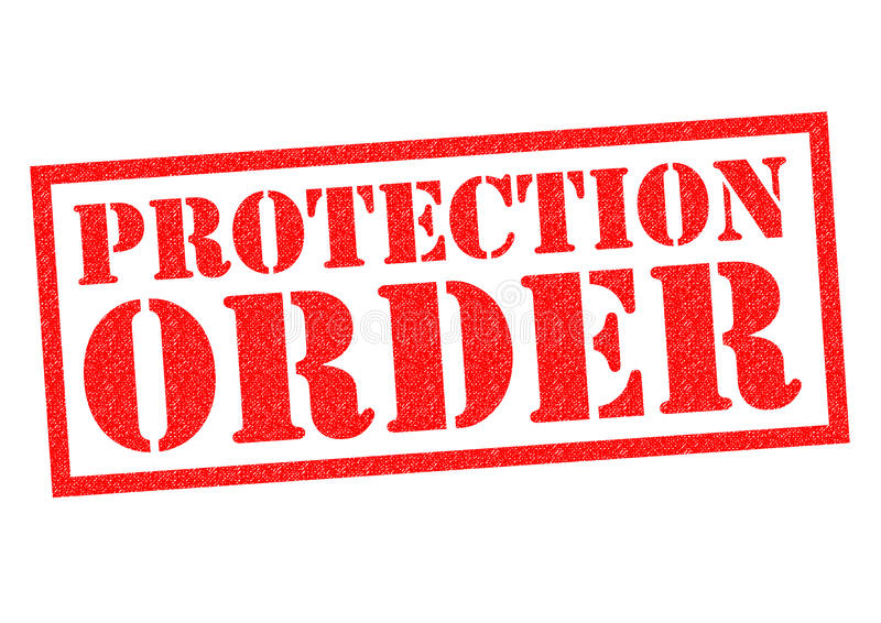 PROTECTION ORDER. Red Rubber Stamp over a white background stock illustration