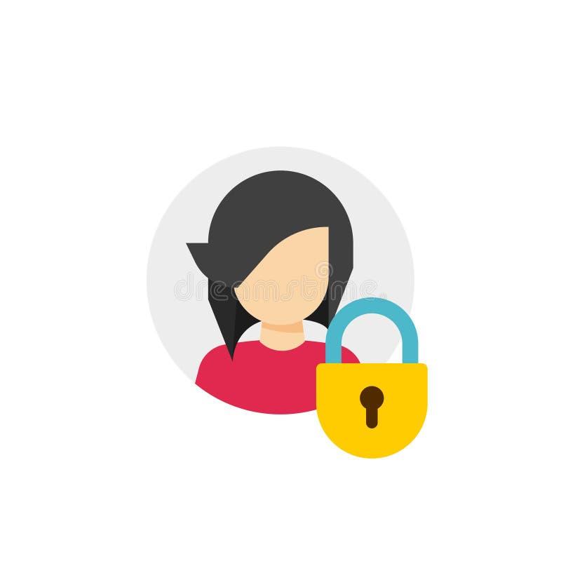 Protection privée de compte personnel ou icône verrouillée de vecteur, profil plat de personne de bande dessinée protégé par l'in illustration stock
