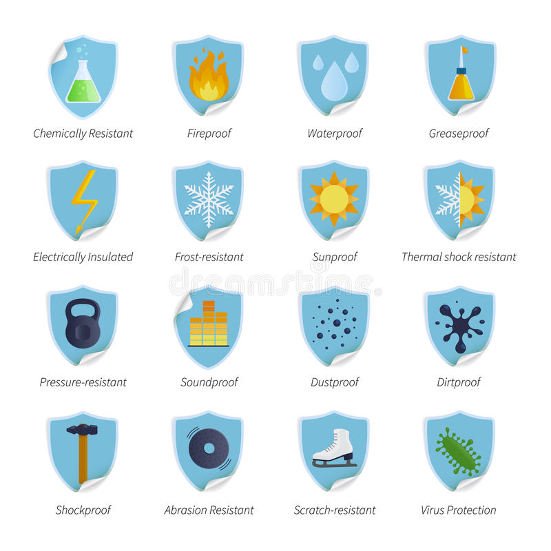 Protection Proof Flat Color Stickers stock illustration