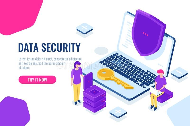 Protection and security of computer data isometric, laptop with shield, man sit on chair with laptop, women engineer vector illustration