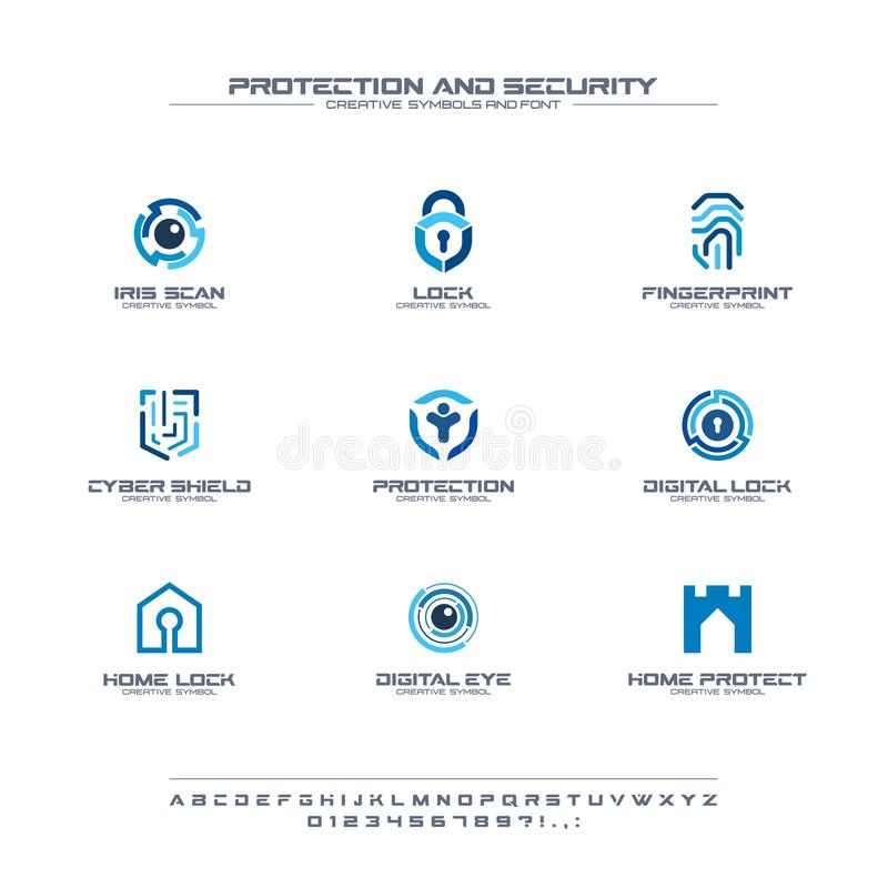 Protection and security creative symbols set, font concept. Home, people secure abstract business logo. Safe lock. Padlock shield icon. Corporate identity vector illustration