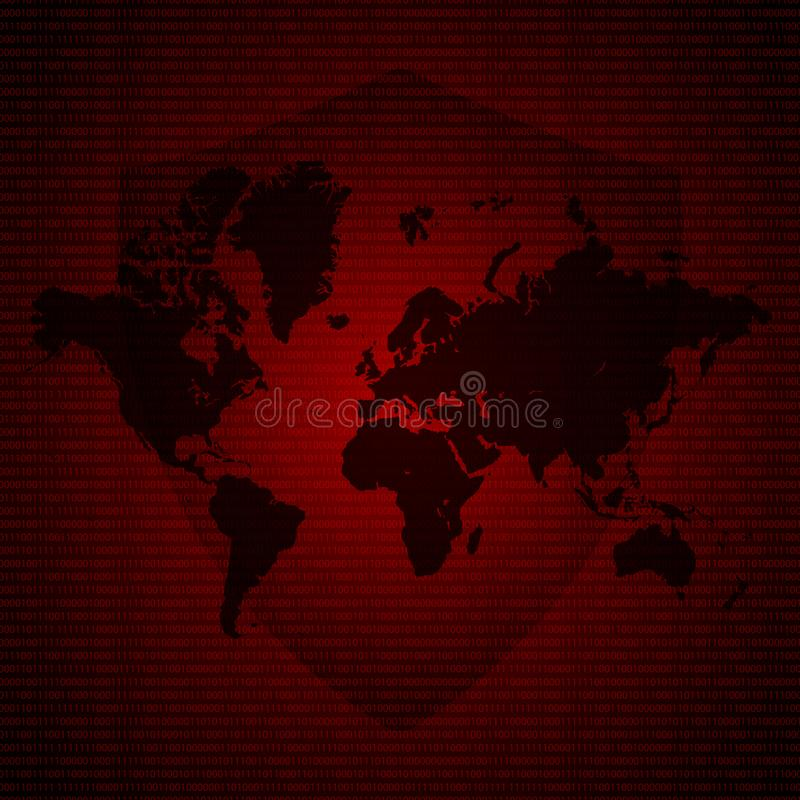 Protection Shield Over World Map. Malware Ransomware virus encrypted files. Vector illustration cybercrime and cyber security conc vector illustration
