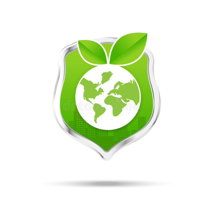 Protection shiled and eco concept save our world on the white ba. Protection shield and eco concept vector illustration stock illustration
