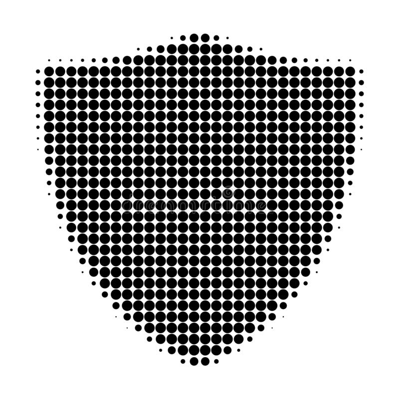 Protection Shiled Halftone Dotted Icon. Halftone pattern contains circle points. Vector illustration of protection shiled icon on a white background stock illustration