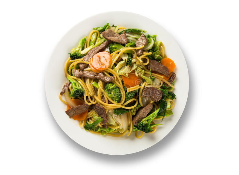 Protection thaïlandaise de nourriture thaïlandaise, nouilles de sauté avec la crevette, viande et vege photographie stock libre de droits