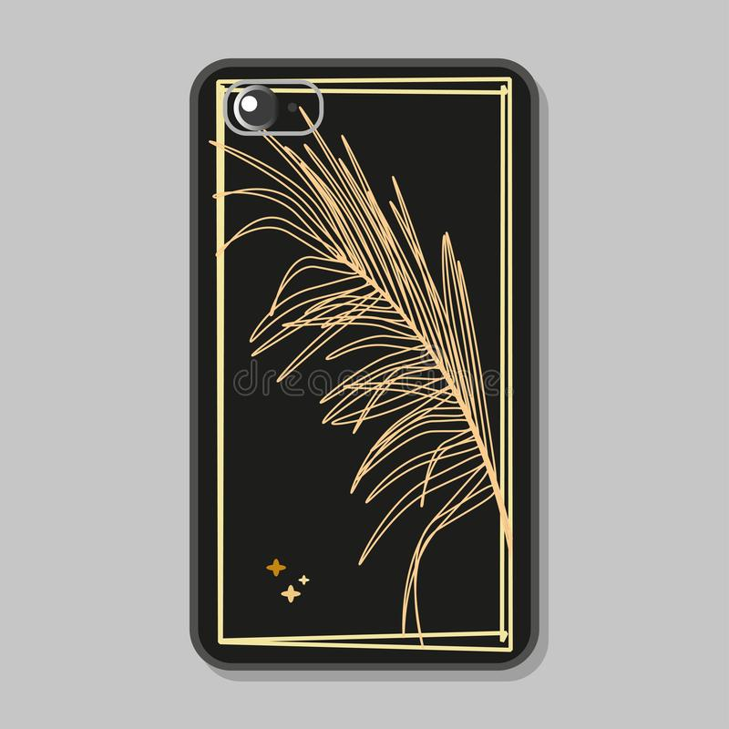 Protective case for mobile phone. Silhouette of palm leaf of luxurious gold color in frame on black background. vector illustration
