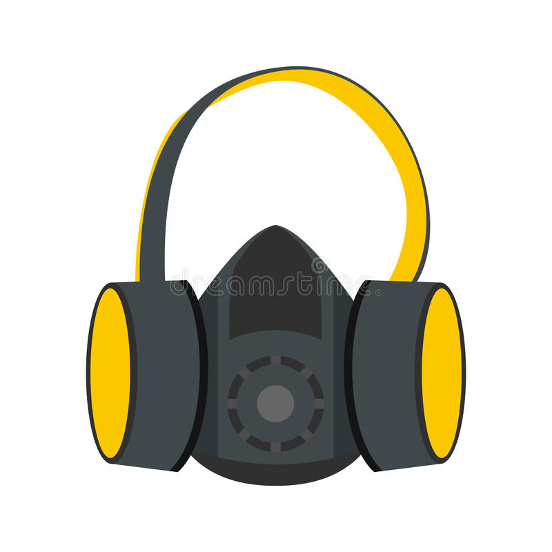 Protective ear muffs and respirator flat icon vector illustration