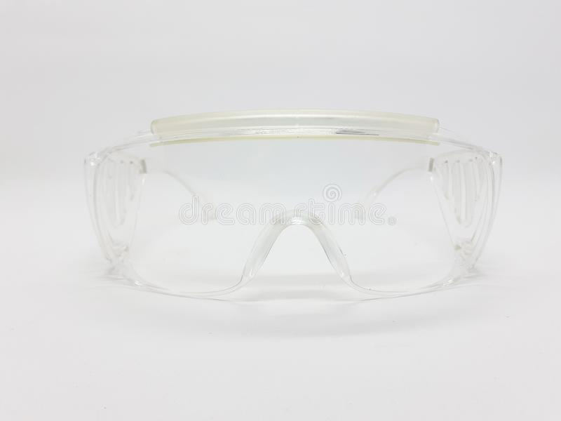 Protective eye glasses for industrial and chemist work in white isolated background 01 stock photo