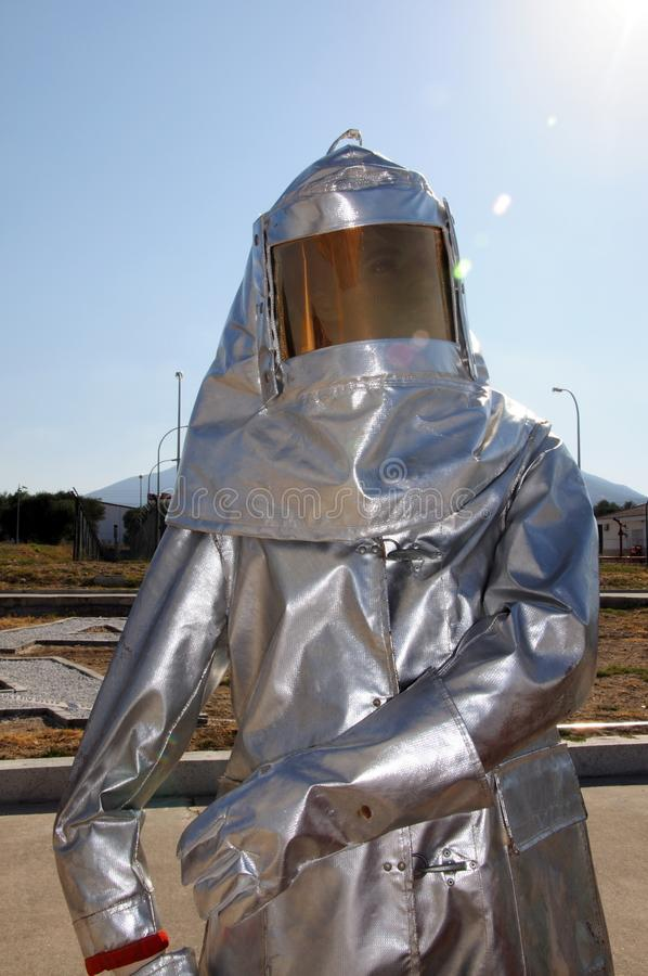 Protective Fire Suit. Dummy in a protective fire suit at the second airshow at Malaga airport, Malaga, Andalusia, Spain, Western Europe royalty free stock photos