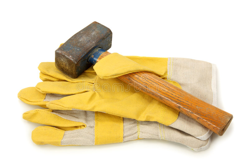 Download Protective Gloves And Hammer Stock Image - Image: 9070571