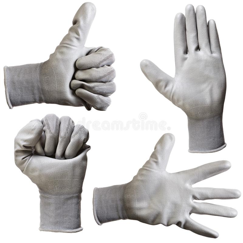 Protective gloves for hands during repair and construction works, isolated on white background.  royalty free stock photo