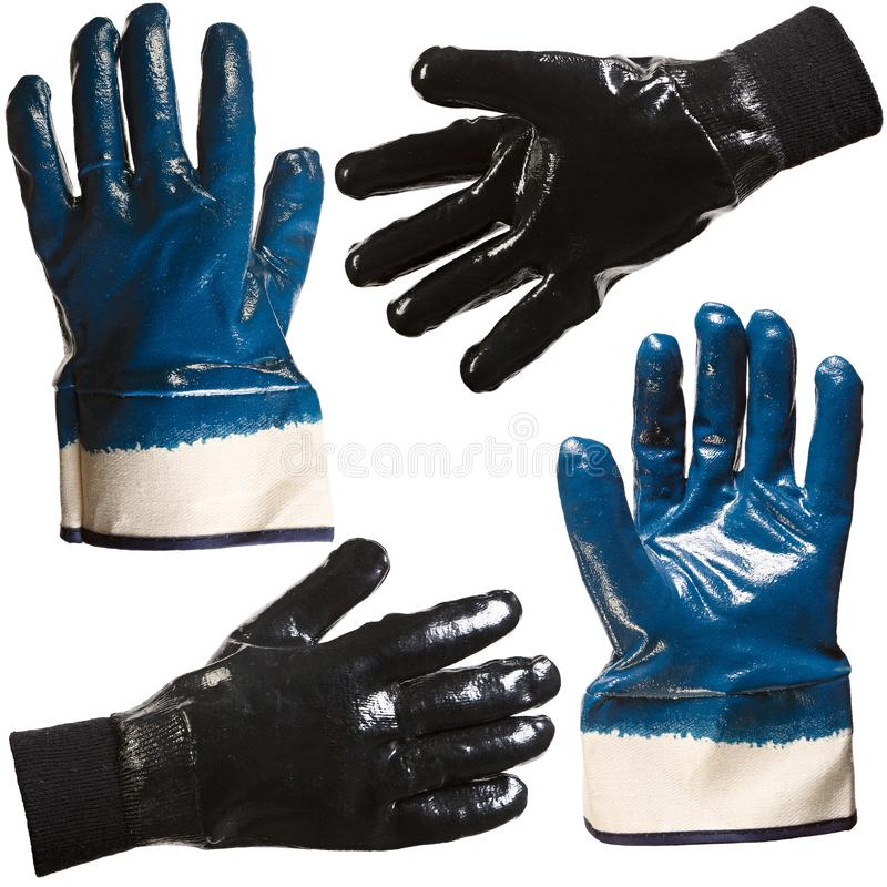 Protective gloves for hands during repair and construction works, isolated on white background.  royalty free stock image