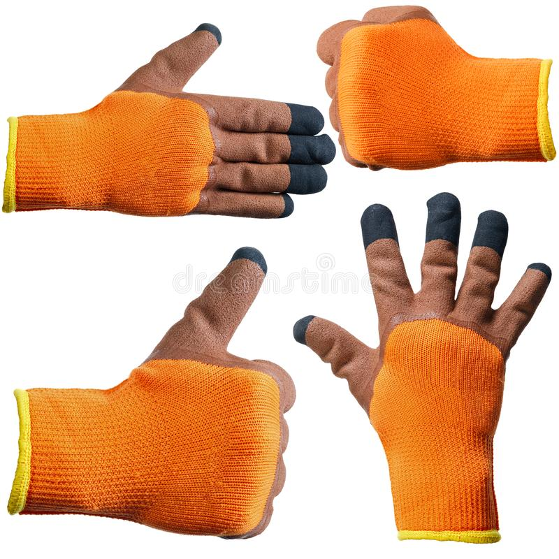 Protective gloves for hands during repair and construction works, isolated on white background.  stock photo