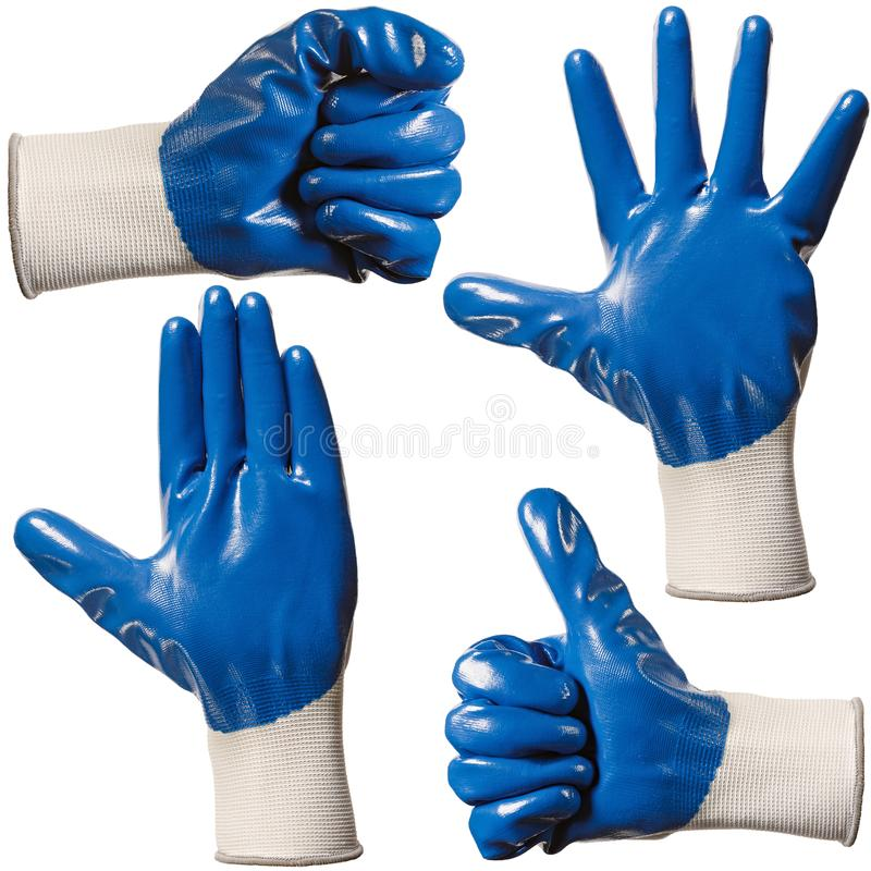 Protective gloves for hands during repair and construction works, isolated on white background.  stock photography
