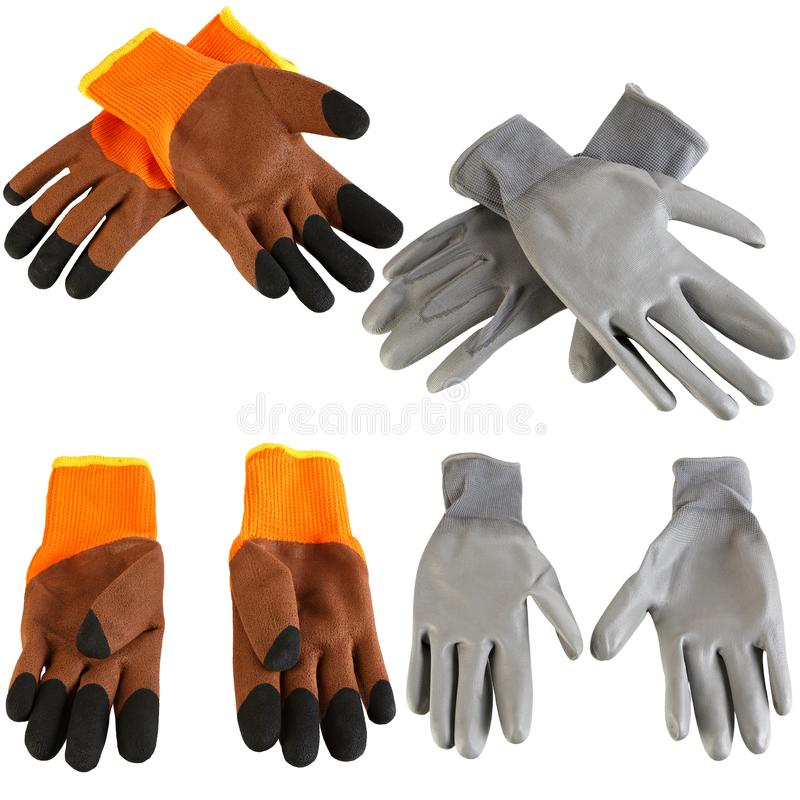 Protective gloves for hands during repair and construction works, isolated on white background.  royalty free stock photos