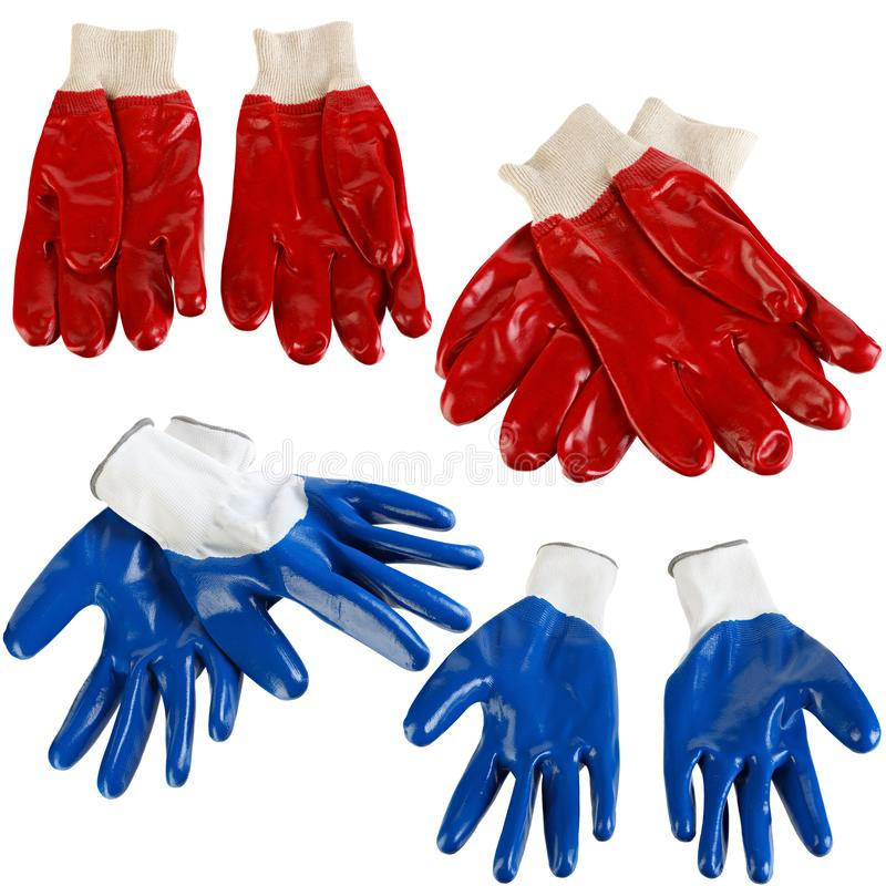 Protective gloves for hands during repair and construction works, isolated on white background.  royalty free stock photography