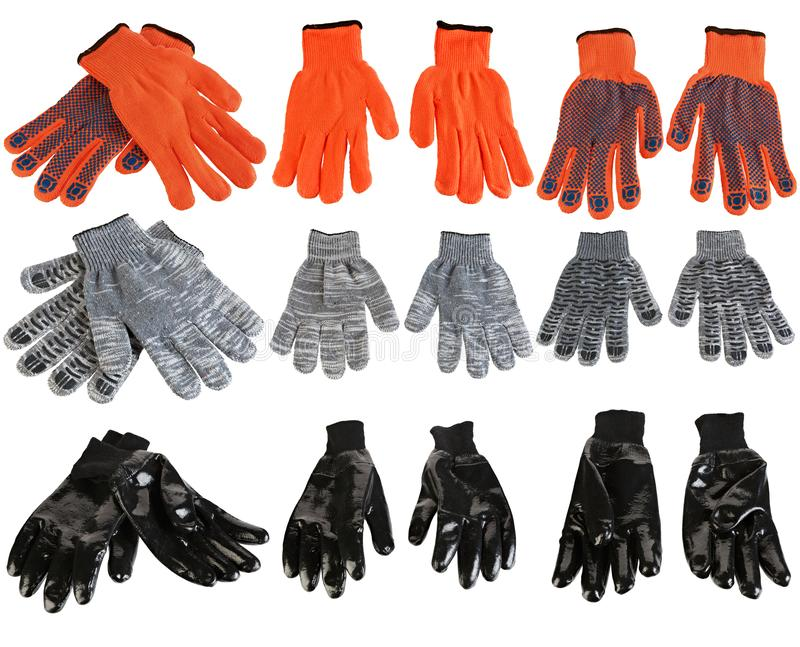 Protective gloves for hands during repair and construction works, isolated on white background.  stock photos