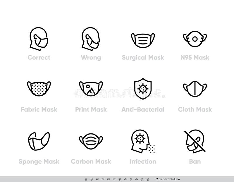 Protective Medical Face Mask icon set. Safety breathing Masks Surgical, Flu Virus Epidemic Prevention, Industrial safety. N95, Respirator, Fabric, With Print stock illustration
