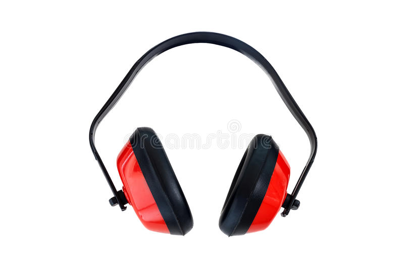 Protective red ear muffs. Isolated on a white background stock photos