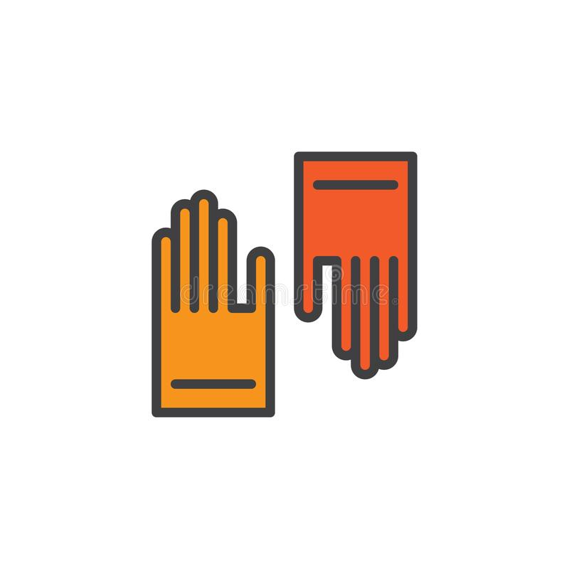 Protective rubber gloves filled outline icon vector illustration