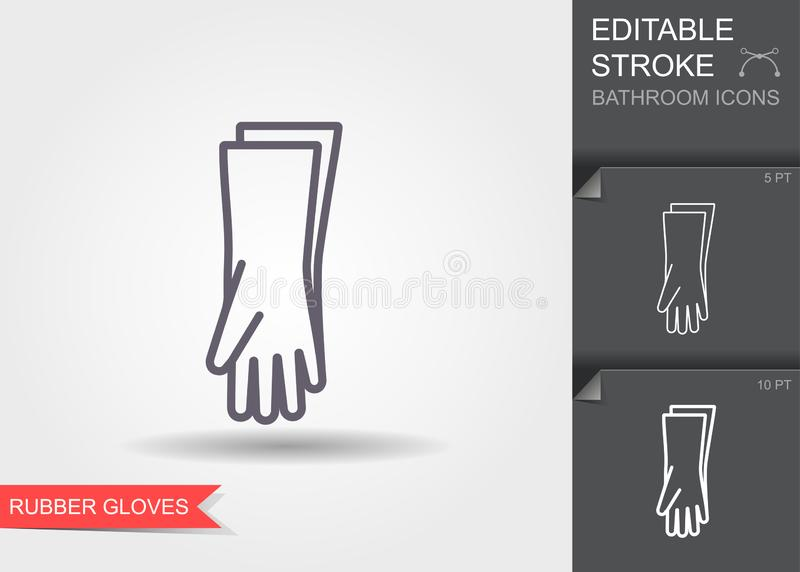 Protective rubber gloves. Line icon with editable stroke with shadow royalty free illustration