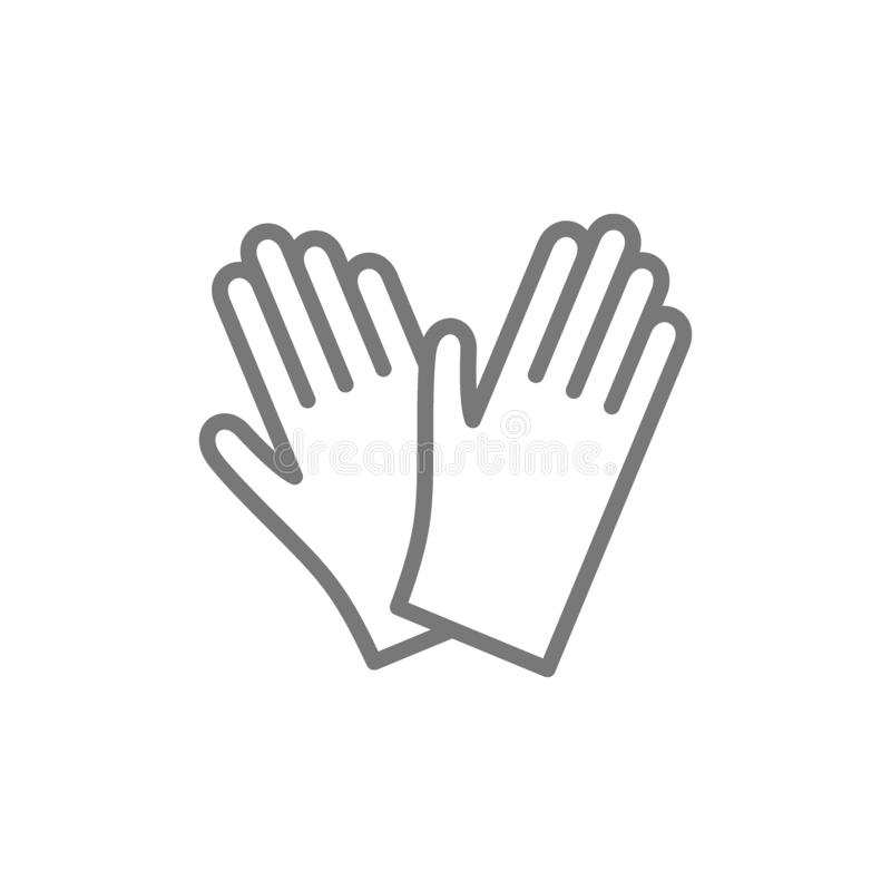 Protective rubber gloves line icon. royalty free illustration