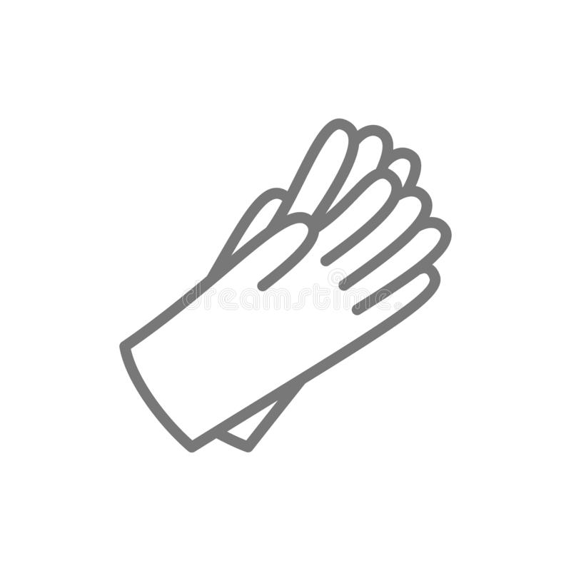 Protective rubber gloves line icon. stock illustration