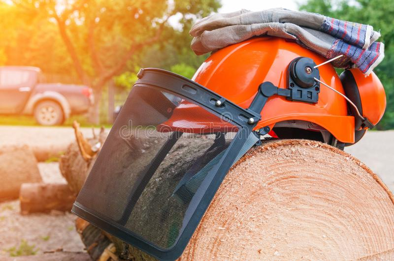 Protective safety work wear for Lumberjack Worker. On a wood log - helmets, gloves and face shields royalty free stock images