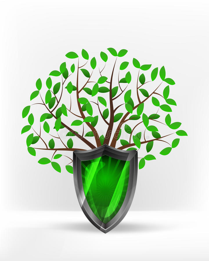 Protective shield in front of green leafy tree vector royalty free illustration