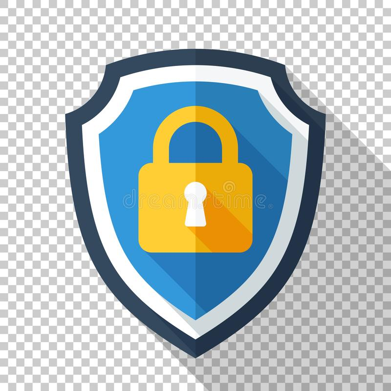 Protective shield with locked padlock icon in flat style on transparent background stock illustration