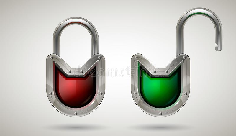 Protective steel guard padlock with safety glass. Realistic style. Isolated background. Security locked and unlocked padlock with metal frame and safety glass stock illustration