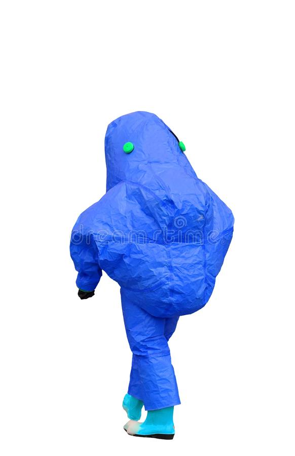 Protective suit against biological and chemical risk. Of blue color stock image