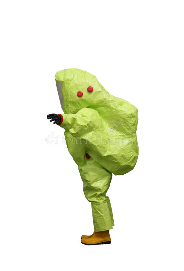 Protective suit with air filtering system to breathe during a fi. Person with yellow protective suit with air filtering system to breathe during a fire or during stock photos