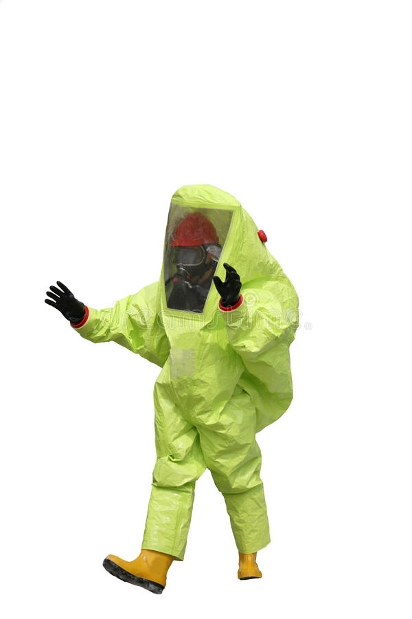 Protective suit with air filtering system to breathe during a fi. Person with yellow protective suit with air filtering system to breathe during a fire or during royalty free stock photos