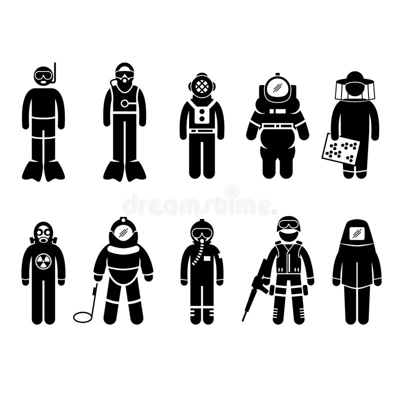 Protective Suit Gear Uniform Wear Stick Figure Pic. A set of people pictogram representing different type of protective gear for different type of jobs royalty free illustration