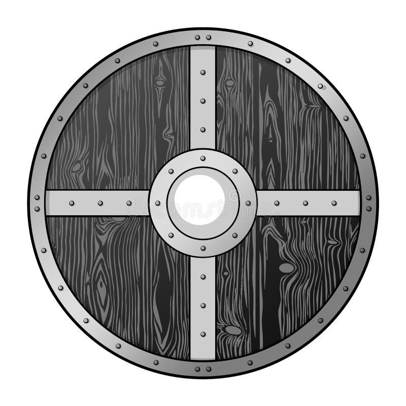Protector de madera redonda medieval de época fotos de archivo