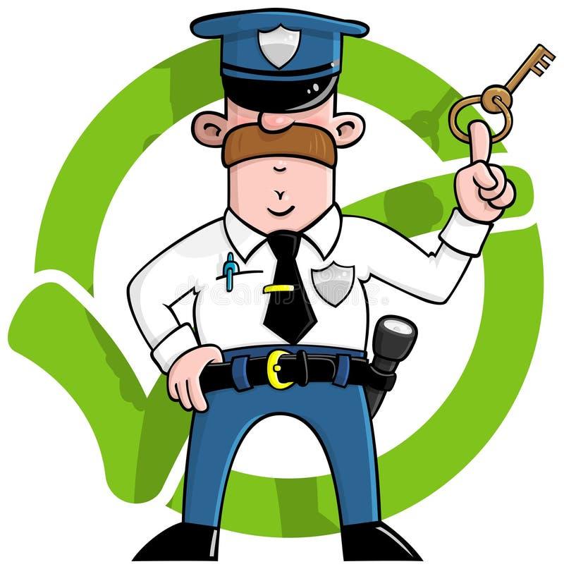 Protector de seguridad de la historieta stock de ilustración